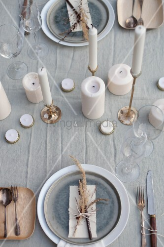 Rustic place setting with natural materials