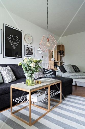 Modern studio apartment in Scandinavian style