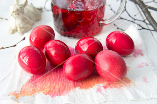 Red-dyed Easter eggs