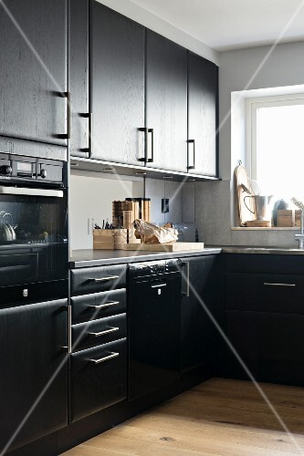 Black L Shaped Kitchen Units With Window Buy Image 11447385