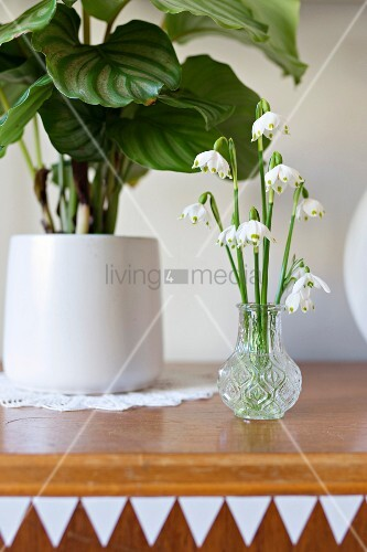 Posy of lily-of-the-valley in small crystal vase