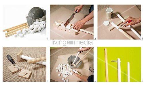 Instructions for making coat rack from broom handles, metal bucket and pebbles