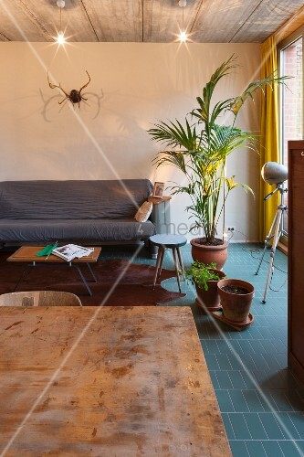 Living room in industrial loft apartment