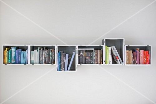 Bookcase made from plastic crates