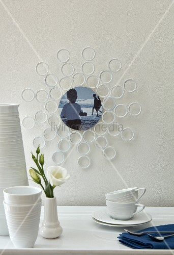 A DIY picture frame made from curtain rings