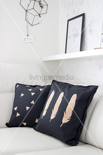 Cushions decorated with cork motifs