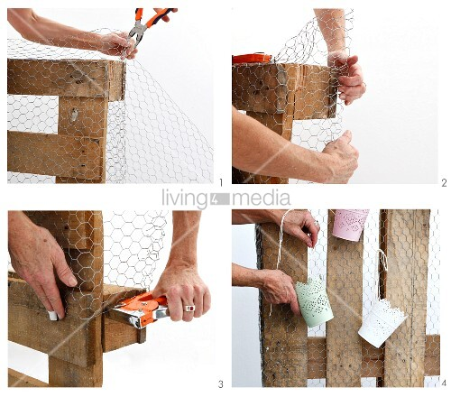 Instructions for making storage panel from wooden palette and chicken wire
