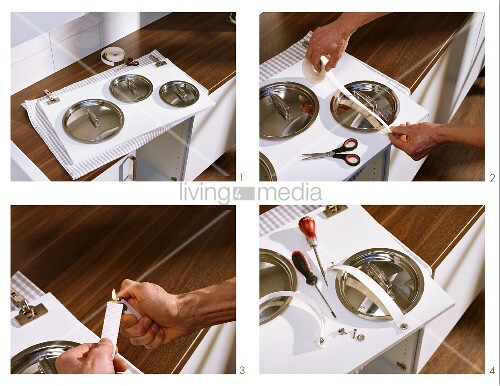 Attaching brackets for pan lids to inside of kitchen cabinet door
