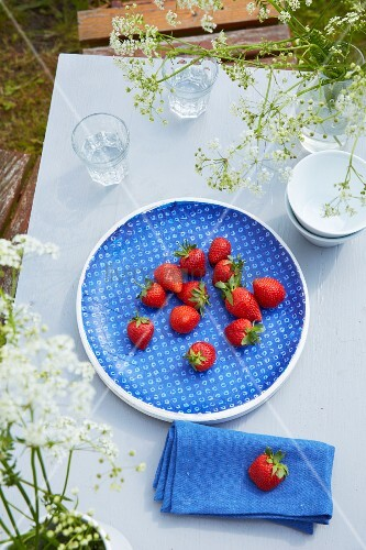 Blue bowl of fresh strawberries on garden table