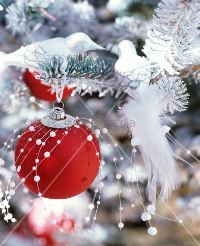 Red bauble and pair of bird ornaments on white-sprayed branches of Christmas tree