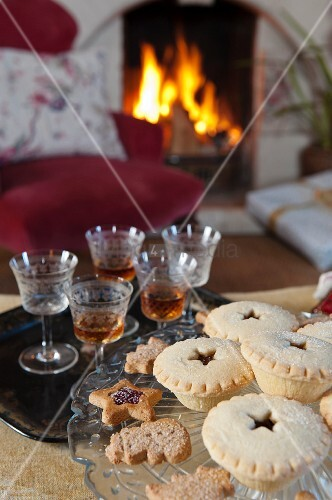 Mince pies and sherry in front of fireplace