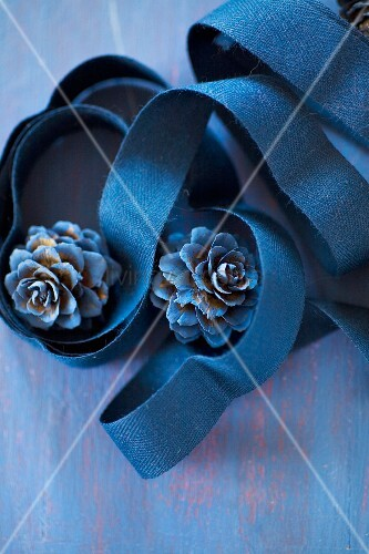 Blue-painted larch cones in coils of blue ribbon