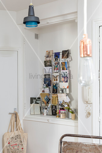 Rack of postcards in niche