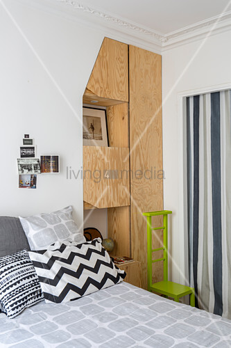Plywood fitted cupboards in bedroom