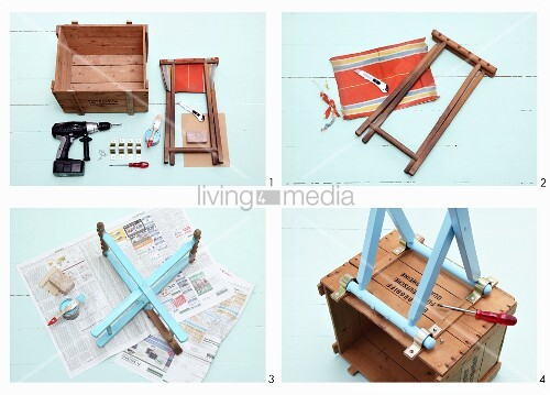 Instructions for making small cabinet from old wooden crate and folding stool