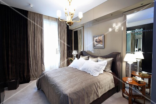 Men S Bedroom In Shades Of Gray With A Double Bed Front Mens Setup