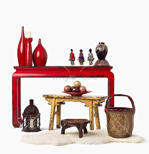 Assorted Ethnic Decor; Stools, Wooden Balls, Table, Lantern and Vases