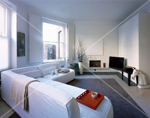 White sofas in modern living room