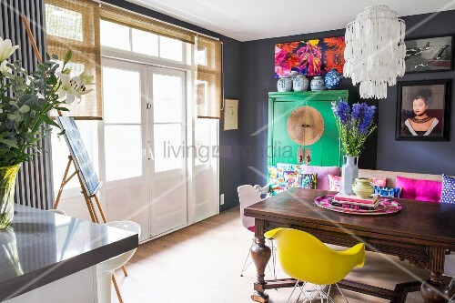 Colourful, eclectic dining room