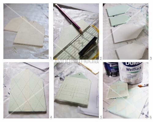Instructions for making shabby-chic tags with graphic patterns