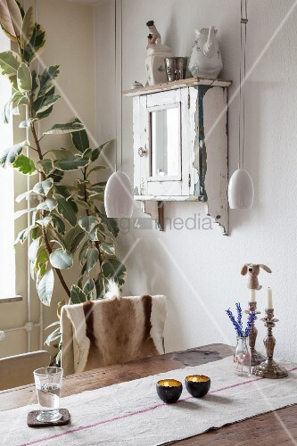 Rustic dining table, vintage wall-mounted cabinet and houseplant in corner