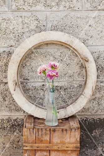 Three carnations in glass bottle in front of round window frame on wooden crate