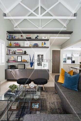 Contemporary living room with exposed roof structure