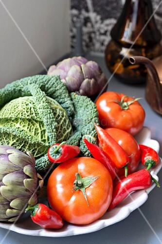 Dish of fresh vegetables