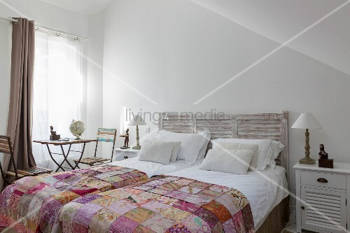 Incredible Double Bed With Headboard Patchwork Buy Image Spiritservingveterans Wood Chair Design Ideas Spiritservingveteransorg