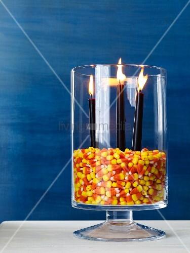 Halloween arrangement of candles
