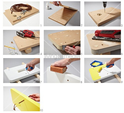 Instructions for making a bedside table suspended from ropes