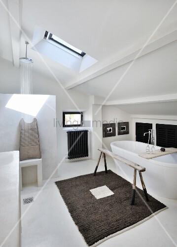bad im dachgeschoss mit dachfl chenfenster duschbereich. Black Bedroom Furniture Sets. Home Design Ideas
