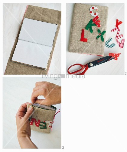 Instructions for making a linen book cover decorated with letters cut using pinking shears