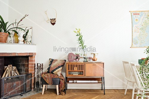 Fireplace in retro living room