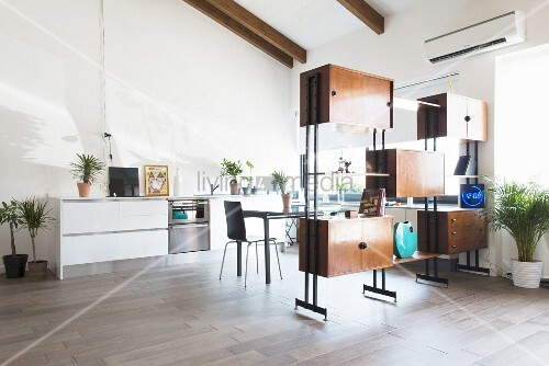 Attic apartment with partition shelving screening kitchen-dining area
