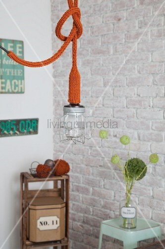 Pendant cage lamp with knitted cover on socket and power cable