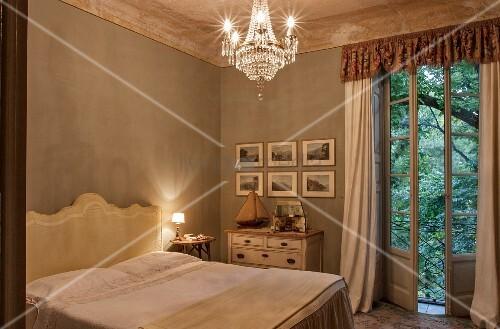 Classic furniture in elegant bedroom
