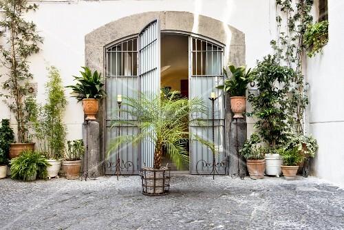 Geöffnetes Tor mit historischem Flair in Innenhof mit verschiedenen Kübelpflanzen