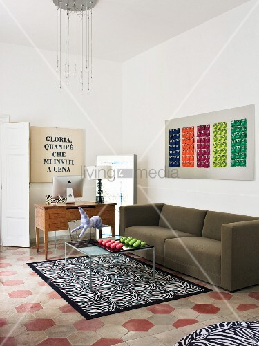 Eclectic Italian living room with tiled floor