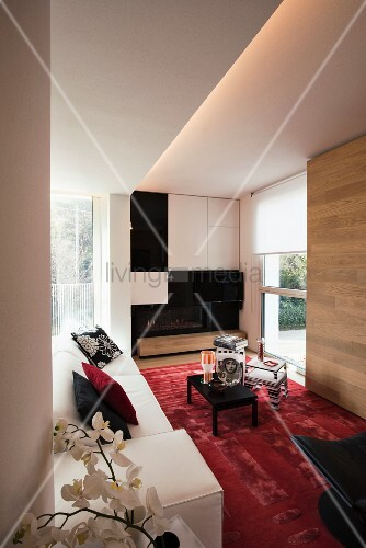 White sofa and modular cabinets in modern living room