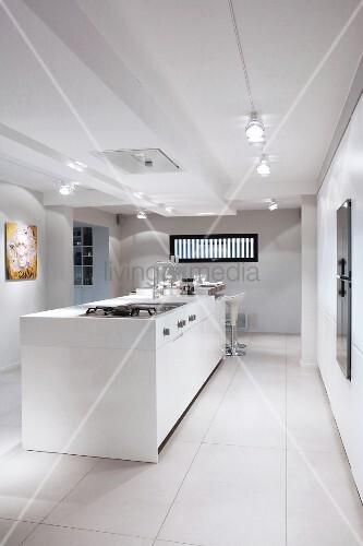 White island counter in designer kitchen