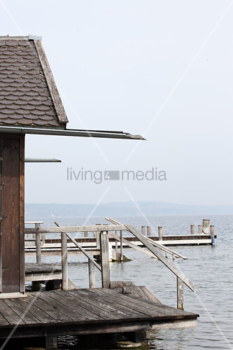 Fisherman's house with rustic wooden jetty