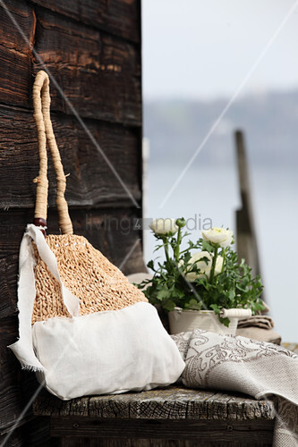Hand-made cotton and raffia bag
