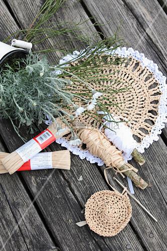 Crocheted raffia doily
