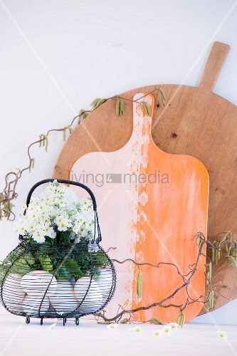 White primula and hazel twigs in egg basket in front of chopping boards