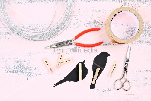 Utensils for making bird silhouettes on a wire