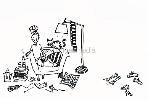 illustration zum thema aufr umen gem tliche unordnung in einer single wohnung bild kaufen. Black Bedroom Furniture Sets. Home Design Ideas