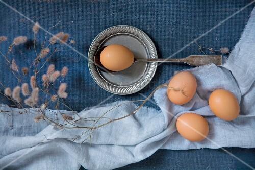 Hühnereier auf hellblauem Stoff und Vintage Löffel