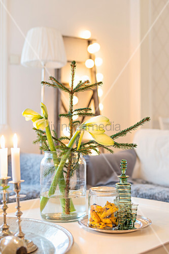 Amaryllis and tiny fir tree in jar on coffee table