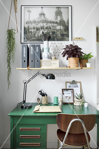 Work area decorated with house plants